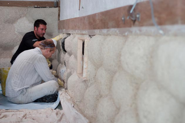 applying hempcrete by hand